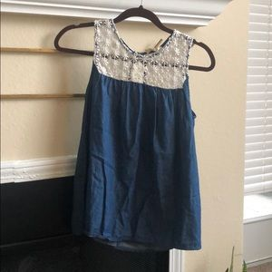 Adorable denim and lace thick strap tank top!